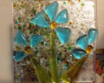 Handmade Fresh Aqua Flowers Fused Glass Night Light
