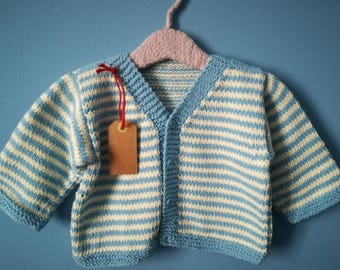 Four-button cotton Cardigan with blue and white stripes for 12 months child
