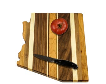 Solid Hardwood - Arizona Cutting Board - Cutting Board in the Shape of AZ made out of Hardwood - Cheese Board
