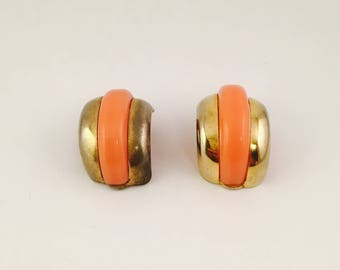 Pink and Gold Clip On Earrings