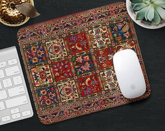 Flower Mouse Pad Blue Red Rug Mouse Mat Persian Carpet MousePad Desk Accessories Mouse Pad Round Mouse Mat Persian Rug Mouse Pad Office Gift