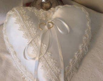 Vintage Satin Heart Shaped Ring Bearer's Pillow, Vintage Wedding, Vintage Wedding Decor