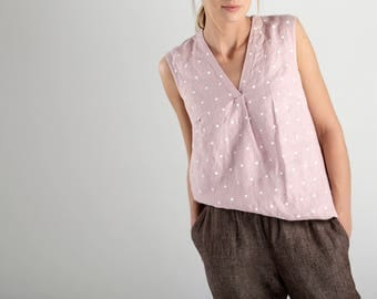 Pink Sleeveless Linen Top With White Dots