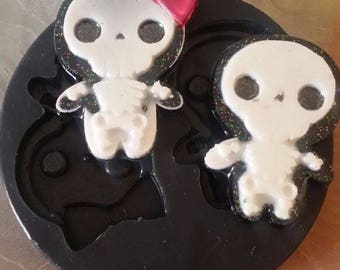 Silicone rubber mold Pair Skeletons chibi