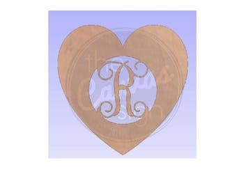 MONOGRAM HEART - Unfinished Wood Cutout - DIY - Wreath Accent, Door Hanger, Ready to Paint & Personalize