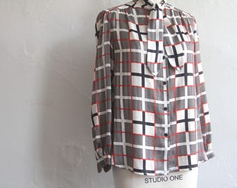 vintage geometric print blouse with neck scarf/ 1970s print blouse womens large