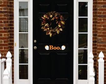 BOO HALLOWEEN DOOR decal with girl or boy ghosts vinyl wall art sticker decal halloween decorations decor