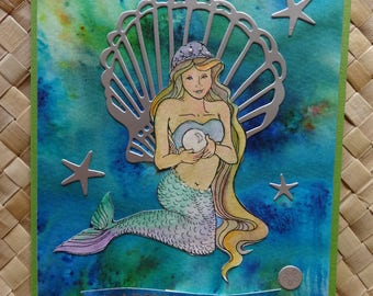 "Birthday card with mermaid and clamshell: ""Happy Birthday"""