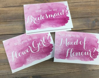 Will you be my Bridesmaid Card, Maid of Honour Card, Flower Girl Card, watercolour, Wedding Stationery
