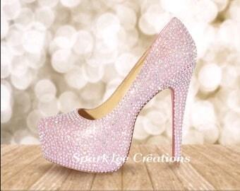 Womens Rhinestone Heels Pink Bling Heels Custom Crystal Pumps Rhinestone Heels Crystal Stilettos