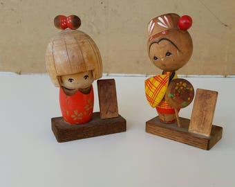 Two little wooden ornaments/ Vintage / retro /gorgeous and fun