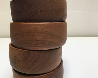 Vintage Goodwood Genuine Teak Thailand Set of 4 Bowls
