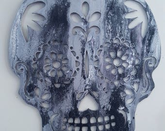 Fluid Acrylic Abstract Sugar Skull 18 x 22 - white, silver, black