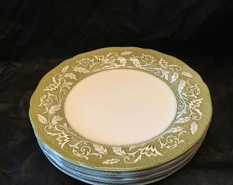 J & G Meakin ~ Plates~ Victoria Ironstone  ~ Medium Plates ~ Bread and Butter ~ Set of Six ~ Green and White ~ Royal Staffordshire ~ England