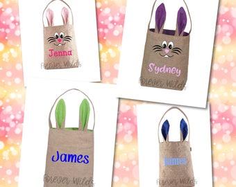 Bunny Ear Burlap Basket - Monogrammed Burlap Easter Basket - Easter Face Basket - Personalized Easter - Bunny Easter Basket