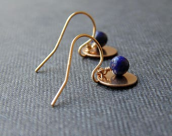 14ct gold filled circle disc charm lapis lazuli gemstone drop dangle earrings