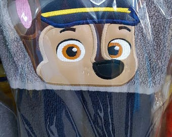 Kid's Hooded Towel, Chase, Police Pup, Character Inspired Hooded Towel, Paw Patrol Towel, Paw Patrol Beach Towel, Paw Patrol Pool Towel