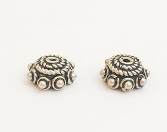 Bali Sterling Silver Bead Caps 9mm with Spiral Rope and Dots-2pc.