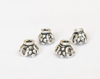 4pc Bali Sterling Silver Bead Caps, Dainty Sterling Silver Bead Caps 5x4mm
