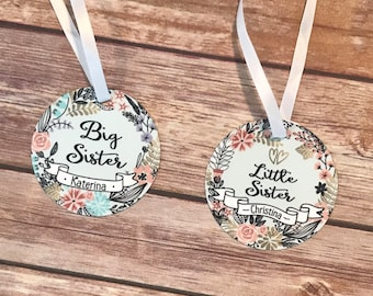 Big Sister/Little Sister Aluminum Christmas Ornament