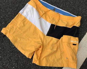 Vintage Nautica Summer Swim Trunks Yellow
