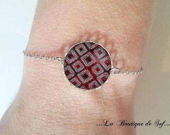 Bracelet fine silver with cabochon 18 mm * wax * (300517)