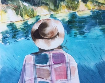 Watercolor dreams, original painting, watercolor painting, people painting, watercolor art, fine art