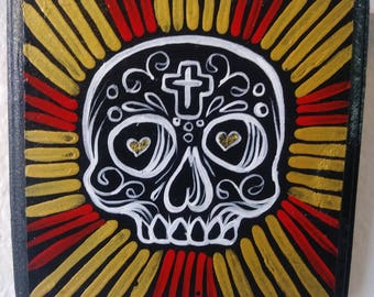 Day of the dead sugar skull original painting on Wood 5x5