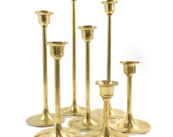 Vintage Brass Candlesticks Set of 7 Tiered Gold Candlestick Lot Graduated Candle Holders Wedding Holiday Table Decor
