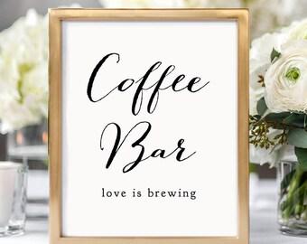 """Coffee Bar sign, printable wedding sign, PDF wedding signs, wedding printable, Sweet Bomb. 8x10"""" and 18x24"""" included"""