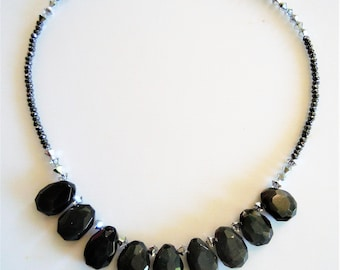 Precious short necklace Rainbow Obsidian.