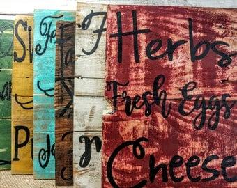 Farmers Market Signs, farmers market pallet board signs, farmers market art, Country Kitchen Art, farm house art, farm house pallet signs