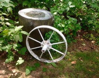 Vintage White Heavy Metal WagonWheel Garden Wedding Farm Decor