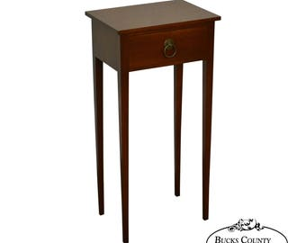 Old Sturbridge Village Solid Mahogany Narrow 1 Drawer Hepplewhite Style  Stand Side Table