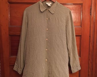 Selene Blouse- green/white polka dot blouse
