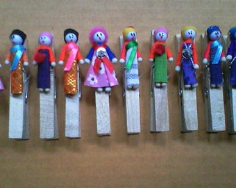 Wood cloth clips, Thailand's hill tribe small doll decorated. 10 pcs/pax.