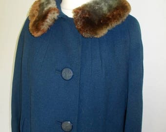 summer sale Vintage coat navy 50s faux fur collar Eastex wool coat size large