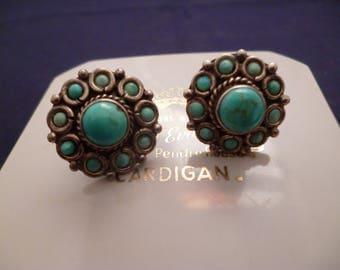 "Vintage turquoise circular silver stud earrings - 925 - sterling silver - 0.8"" x 0.8"" - j"
