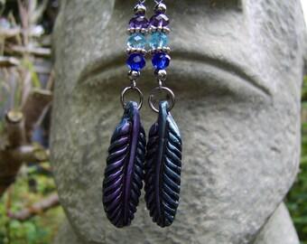Feather Earrings. Beaded Earrings. Crystal Earrings. Long Earrings. Blue And Mauve Earrings. Polymer Clay Feather Earrings. Drop Earrings.