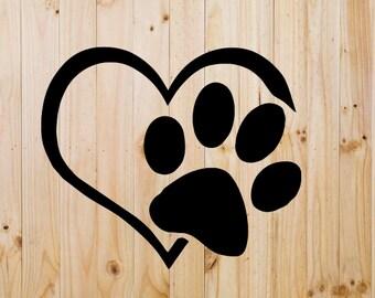 Heart Dog Paw Print - I love my dog - Yeti Decal- Tumbler Decal - Laptop Decal - Yeti Sticker - Window Decal - Sticker - Vinyl Sticker