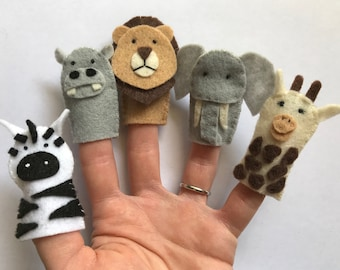 Safari Animals Felt Finger Puppets (Hippo, Lion, Giraffe, Zebra, Elephant), Set of 5