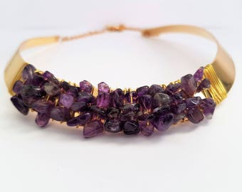 semi precious purple amethyst/collar Choker