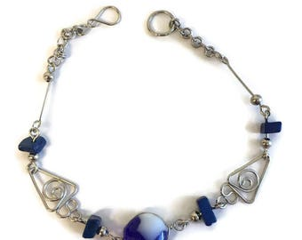 Silver Wire Wrap Blue Glass Beaded Bracelet, Silver and Blue Glass Beaded Bracelet, Dark Blue Beaded Bracelet, Light Blue Beaded Bracelet
