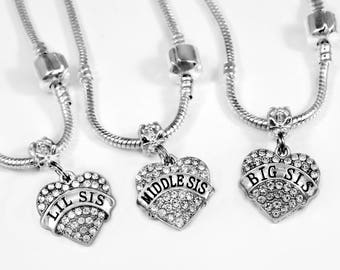 3 sisters necklace set  lil sis  middle sis  big sis necklaces sisters forever best Austrian Crystal Heart Charm sister gift