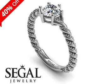 Solitaire Engagement Ring White Gold Art Deco Ring Antique Engagement Ring Moissanite Ring Vintage Ring Solitaire Engagement Ring - Keira
