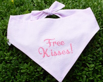 Free Kisses! Pink Seersucker Bandana    Preppy Baby Pink Tone on Tone Dog Pet Scarf    Puppy Gift by Three Spoiled Dogs