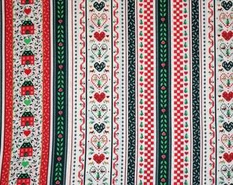 Wamsutta OTC Hallmark Cards Inc.,  Christmas Sampler Style Fabric, Christmas Fabric, Christmas Quilting Fabric, Vintage Quilting Fabric