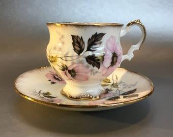 Elizabethan Pink and Black Floral Vintage Bone China Tea Cup and Saucer England