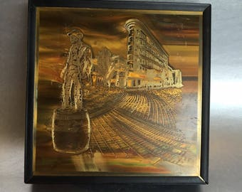 "Acid Etched Brass 6"" vintage mid century Picture"