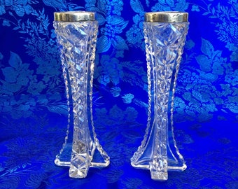 Antique 1800's Birmingham Silver And English Crystal Hallmarked Candle Holders brilliance